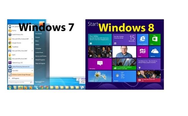 Dallimet në mes Windows 7 dhe Windows 8