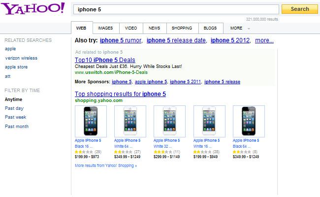 Top 10 termet me të kërkuara nëpërmes Yahoo-së