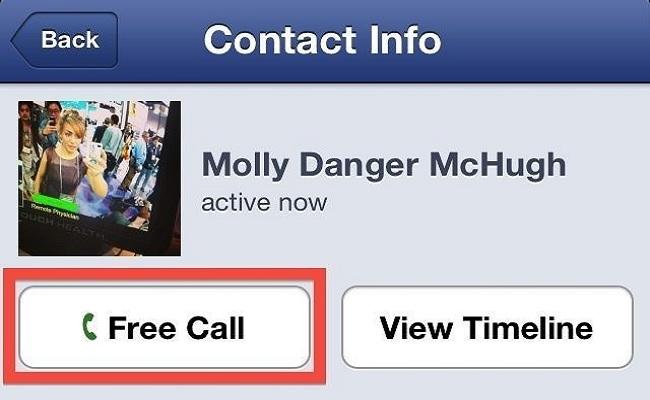 Telefononi falas duke përdorur Facebook-un në iPhone