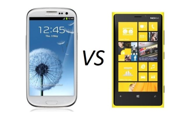 Galaxy S3 vs Lumia 920 (Microsoft sulmon Samsung)