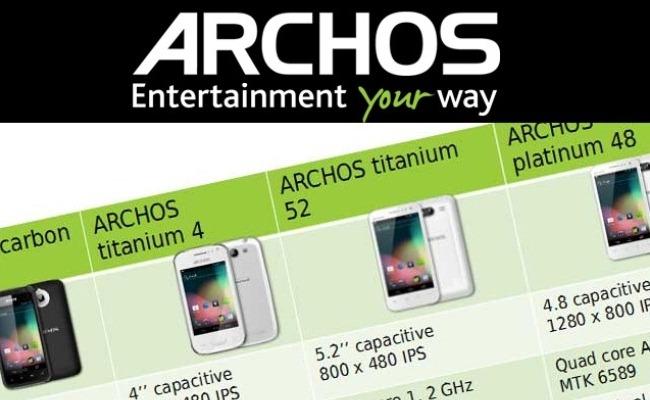 Archos njofton për 4 smartphone të ri me Android