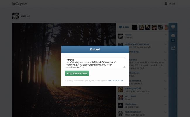 Instagram shton opsionin embed për ueb