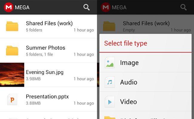 Aplikacioni Mega tani në dispozicion për Android