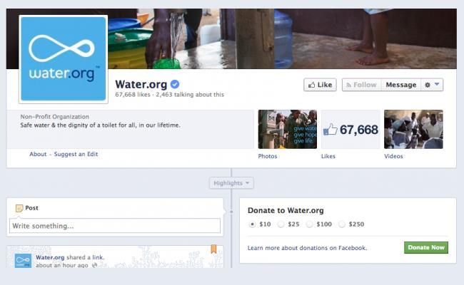 "Facebook nis me funksionin ""Donate Now"""