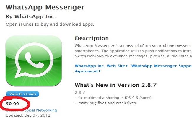 WhatsApp nga viti 2015 do të kushtoj  99 cent për vit