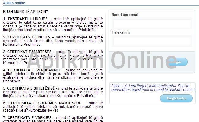 Aplikim online për shtatë dokumente të Komunës së Prishtinës