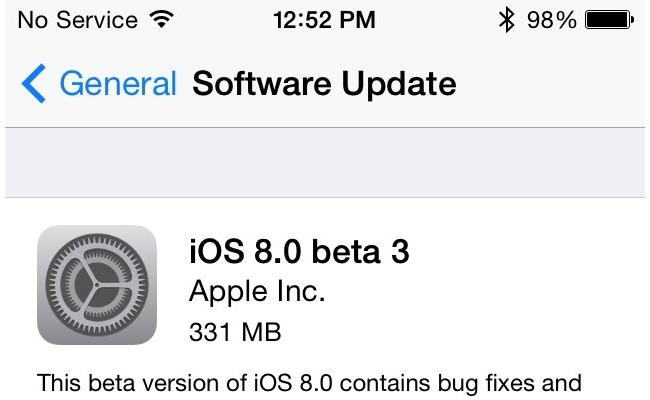 Del versioni i ri testues, Apple iOS 8 Beta 3