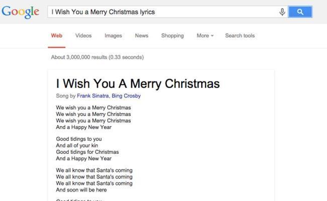 Google shumë shpejt me tekste kengësh nga menyja direkte e kërkimit