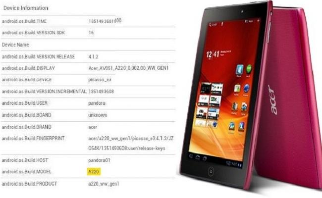 Paralajmërohet Acer Iconia Tab A220