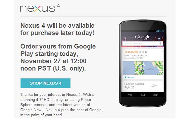 Google Nexus 4 në dispozicion për shitje