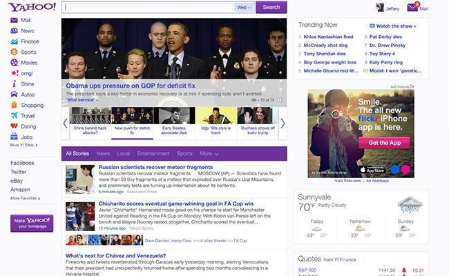 Yahoo me dizajn të ri