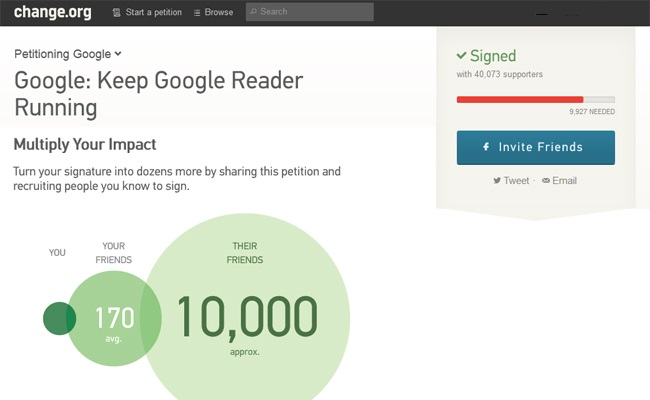 Peticioni për mos-mbylljen e shërbimit Google Reader