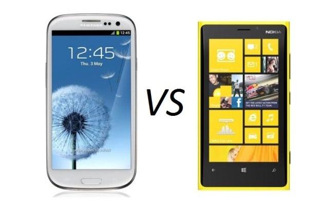 Galaxy S3 vs Lumia 920 (Microsoft sulmon Samsung)