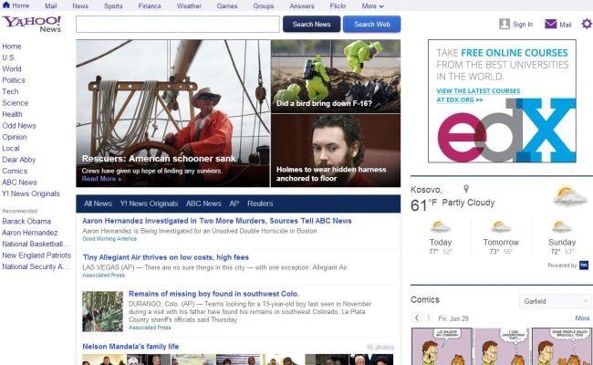 Shërbimi Yahoo News me dizajn të ri