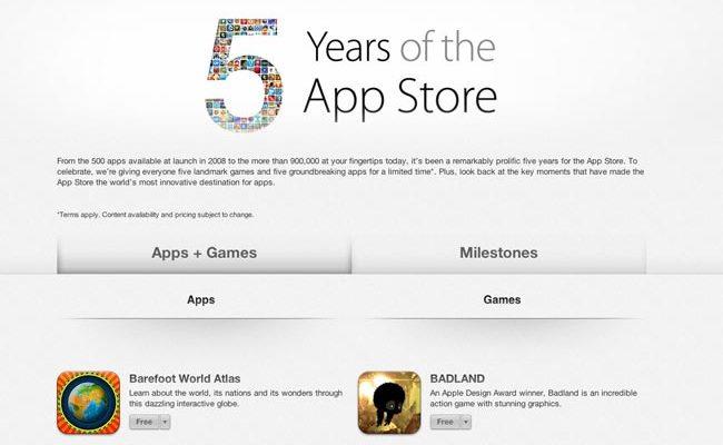 Aplikacione pa pagesë për 5 vjetorin e AppStore-it