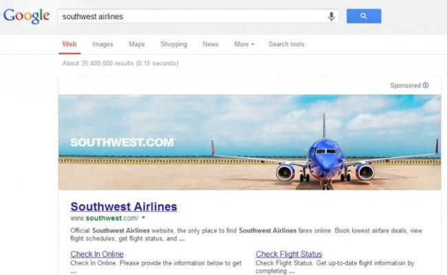 Google ad southwest banner