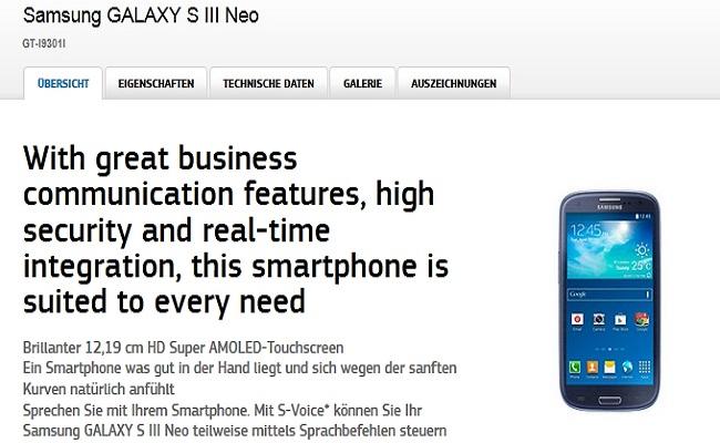 Modeli i ri i Samsung Galaxy SIII Neo